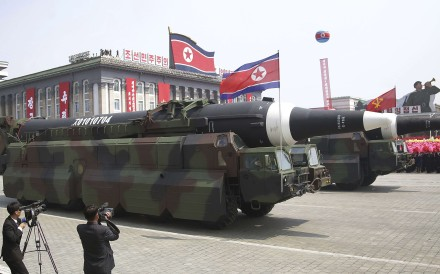 Missiles are paraded across Kim Il-sung Square during the military parade on Saturday, April 15, 2017. Photo: AP