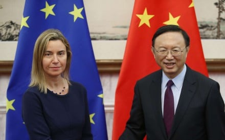 European Union foreign affairs chief Federica Mogherini with China's State Councillor Yang Jiechi in Beijing in 2015. Photo: AFP