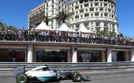 Mercedes' German driver Nico Rosberg drives at the Monaco street circuit during the qualifying session of the Monaco Formula One Grand Prix in Monte Carlo on May 24, 2014. Photo: AFP/ANNE-CHRISTINE POUJOULAT