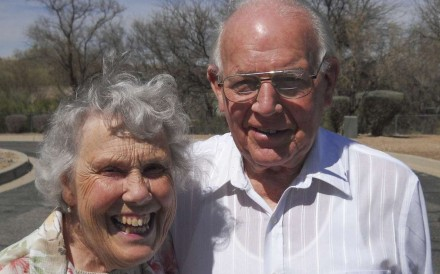 Joe Cotterill with his wife, Joyce Stranks. Picture: Green Valley News, Arizona