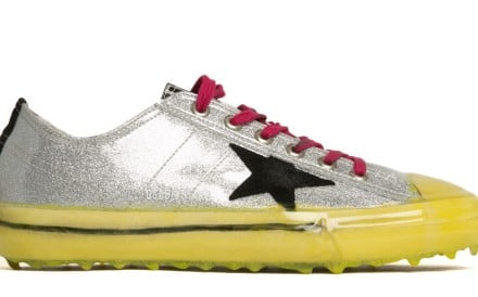 Check out the shiny V-Star 2 sneakers by Golden Goose Deluxe Brand and the embroidered tuxedo from Givenchy