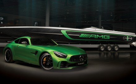 The Cigarette Racing Team 50' Marauder AMG Boat – the nautical counterpart to the Mercedes-AMG GT R car – is designed for adrenaline junkies