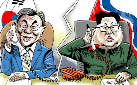 """Moon Jae-in would still like nothing better than to renew the """"sunshine policy"""" of reconciliation with North Korea, as pursued in a decade of liberal rule during the presidencies of Kim Dae-jung and Roh Moo-hyun, from 1998 to 2008. Illustration: Craig Stephens"""