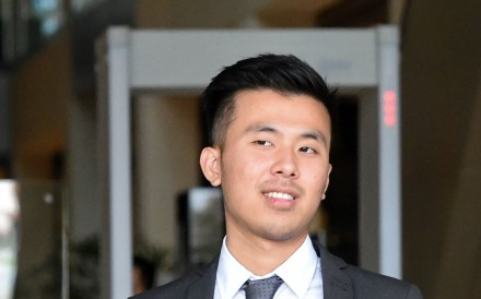 British national Khong Tam Thanh, 22, one of the three British men sentenced Tuesday to jail time and caning for sexually assaulting a Malaysian woman during a stag party in Singapore. Photo: AFP