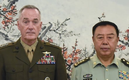 Chairman of the US Joint Chiefs of Staff Joseph Dunford, left, poses for a photograph with China's Vice-Chairman of the Central Military Commission Fan Changlong during their meeting in Beijing. Photo: Handout