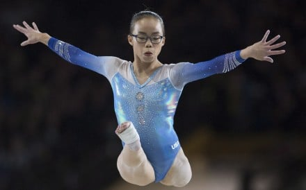 Morgan Hurd performs on the balance beam in the women's individual all-around final at the world championships in Montreal. Photo: AP