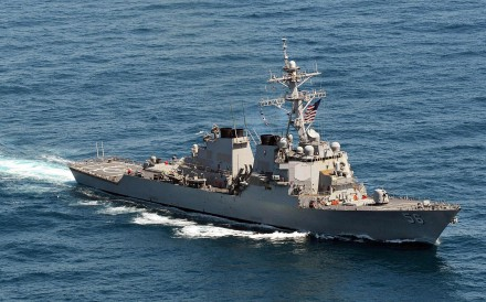 The USS John McCain went within 12 nautical miles of Mischief Reef in August. Photo: AFP