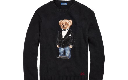 Polo Ralph Lauren's Polo Bear, in a tuxedo jacket and blue jeans, is a stylish Christmas gift.