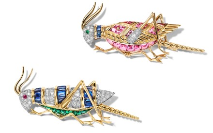 Jean Schlumberger's cricket clips in 18-carat yellow gold and platinum with pink and blue sapphires, diamonds and emerald eyes.