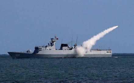 A Chinese frigate launches a missile during a naval drill in the East China Sea on Thursday. Experts said China was keen to step up its combat readiness in light of the North Korean nuclear crisis. Photo: Weibo