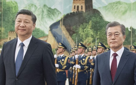 Chinese President Xi Jinping and South Korean President Moon Jae-in attend a ceremony at the Great Hall of the People in Beijing during Moon's visit this month. Photo: Kyodo