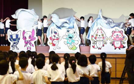 The shortlisted official Tokyo 2020 Olympic Games mascots being unveiled at Kakezuka elementary school in Tokyo. Photo: AFP