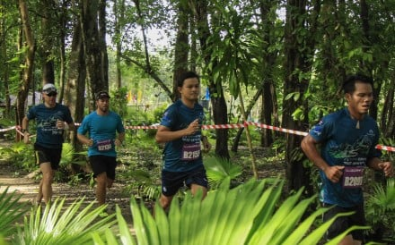 Athletes on a training run from the Thanyapura Olympic village in Phuket, Thailand.