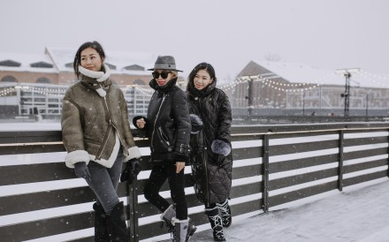 Friends Maggie Xu (centre), Yuki Dong (left) and Jenny Lu in St Petersburg. Photo: Kristina Averina