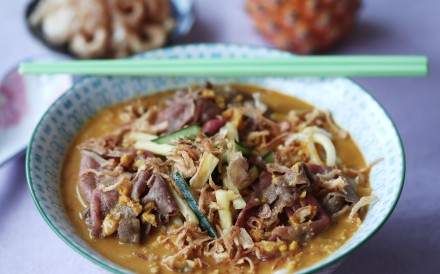 Susan Jung's satay soup with poached beef and udon noodles. Photography: Jonathan Wong. Styling: Nellie Ming Lee