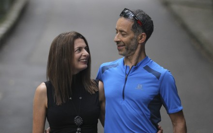 Runners Janine Canham and Mo Devlin at the start of the Mount Parker Road Green Trail where it meets Kings Road in Quarry Bay. Photo: Roy Issa