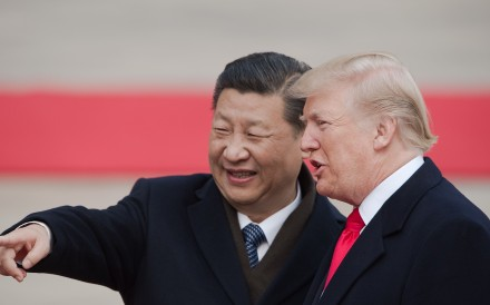 China's President Xi Jinping (left) and Donald Trump pictured at a welcome ceremony at the Great Hall of the People in Beijing in November 2017. Photo: Agence France-Presse