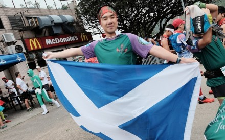Tony Lai runs for Scotland in the Country of Origin race. The organisers do not distinct between the four nations of the UK, but some of the participants do. Photo: Handout