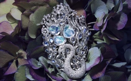 Feng.J's Le Cygny brooch with crystal opals, moonstone, rose-cut diamonds, diamonds, and 18ct gold