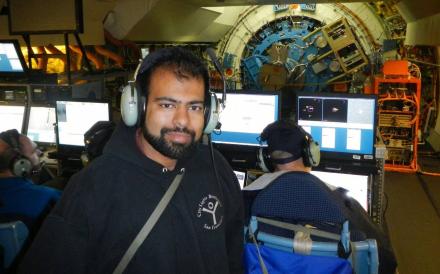 Nasa's Zaheer Ali on board the Sofia flying telescope. Photo: Supplied