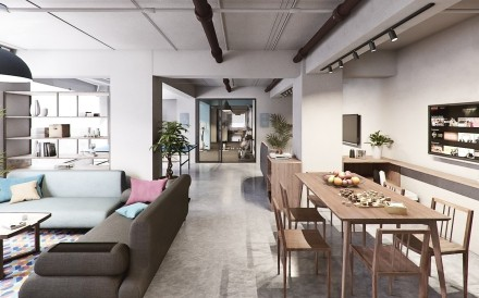 Residents at co-living space Weave on Boundary in Prince Edward, Hong Kong will share common areas to relax in.