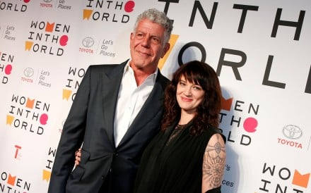 Anthony Bourdain and actor and director Asia Argento in New York on April 12. Photo: Reuters