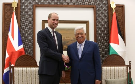 Britain's Prince William with Palestinian President Mahmoud Abbas in the West Bank city of Ramallah on Wednesday. Photo: Xinhua