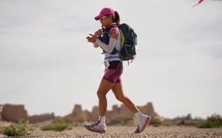 Samantha Chan in the midst of the 400km Ultra Gobi. Photo: Lloyd Belcher Visuals