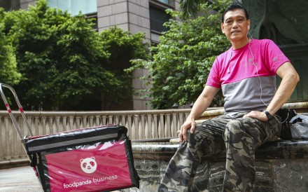 Fok Yiu-wah is the eldest worker at food delivery service Foodpanda. Photo: Edmond So