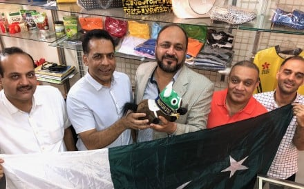 Mohammad Ilyas, Bhatti Saeed, Jawad Ashraf, Mian Rasheed and Shahid Mubeen with a Pakistan Star plushie. Photo: Michael Cox