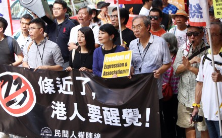 Protesters warned the ban would pave the way for a return of national security legislation under Article 23 of the Basic Law. Photo: Edmond So
