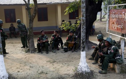File photo of Myanmar soldiers at the Kyee Ken Pyin police border guard post in Rakhine State. Photo: EPA