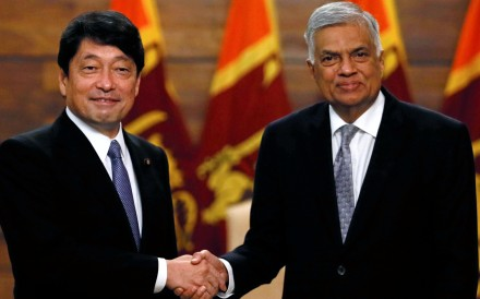 Japanese Defence Minister Itsunori Onodera with Sri Lanka's Prime Minister Ranil Wickremesinghe during their meeting in Colombo, Sri Lanka on August 21, 2018. Photo: Reuters