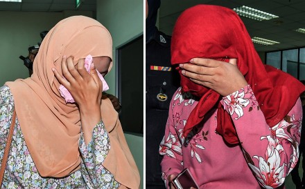 The two women who were caned in Malaysia. Photo: EPA