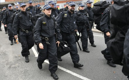 Police marching in London. Photo: EPA