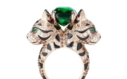 Boucheron's Fuzzy the Leopard Cat ring comes in several versions. This double-headed ring in rose gold is set with 345 champagne diamonds, diamonds, four emeralds and lacquer. A 9ct tourmaline, set at the very top, gives the piece a glittering finish.