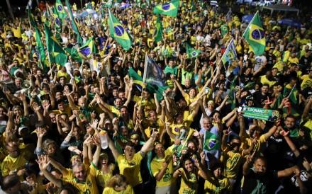 Bolsonaro supporters celebrate in Brasilia. Photo: AFP