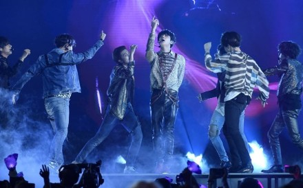 BTS performed 'Fake Love' at the Billboard Music Awards at MGM Grand Garden Arena in Las Vegas in May. Photo: Yonhap