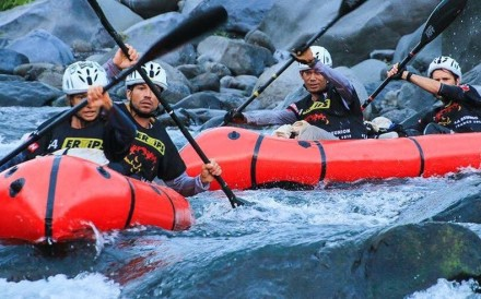 The North Face Adventure Team paddle through Reunion Island – Adventure racing is a multidisciplinary race, including running, cycling, kayaking and more. Photo: Handout