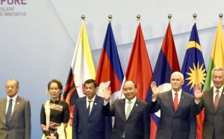 Leaders of the Association of Southeast Asian Nations and US Vice President Mike Pence pose for a photo ahead of an Asean-US summit in Singapore on November 15. Photo: Kyodo