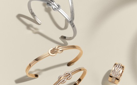 Fred 8°0 collection, featuring assorted gold bracelets and a diamond-encrusted ring, was created to celebrate the French jeweller's 80th anniversary.