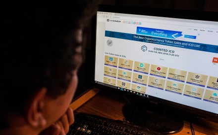 A site featuring cryptocurrency token sales and ICO lists. Before a crackdown by Beijing last year, 80 per cent of the world's virtual currency transactions and ICO financing took place in mainland China. Photo: AFP