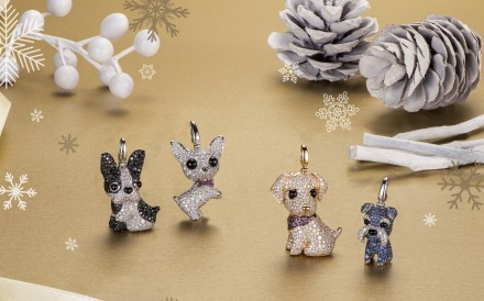 Qeelin's Christmas collection includes four diamond-studded canine pendants: (from left) Pierre the French bulldog, Peekaboo the chihuahua, Bella the golden retriever, and Morgen the schnauzer.