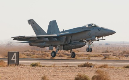 A US Navy F-18 Super Hornet from Naval Air Station Oceana, Virginia Beach, VA, taking off for a training mission. Photo: AFP