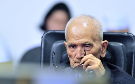 Former Khmer Rouge leader Nuon Chea who was represented by Victor Koppe. Photo: AFP