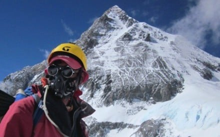 Michael Tomordy about to summit Everest. He has now written a book about how to properly tackle the mountain. Photo: Handout
