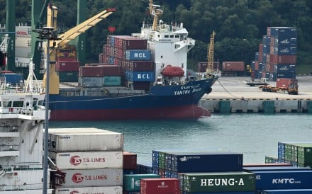 A ship loaded with containers at Tanjong Pagar container port in Singapore. Photo: AFP