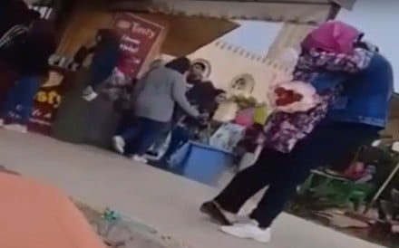 This viral footage of a male student at an Egyptian university hugging a female student led to him being expelled from the institution for his behaviour. The expulsion from Mansoura University has now been overturned. Photo: YouTube