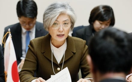 South Korean Foreign Minister Kang Kyung-wha, during a meeting with her Japanese counterpart Taro Kono in Davos on Wednesday. Photo: Kyodo