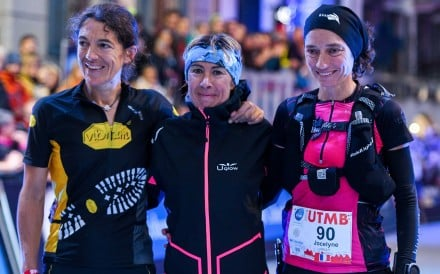 Francesca Canepa is flanked by runner-up Uxue Fraile Azpeitia (left) and third-placed Jocelyne Pauly after winning the 2018 Ultra Trail de Mont Blanc. Photo: UTMB